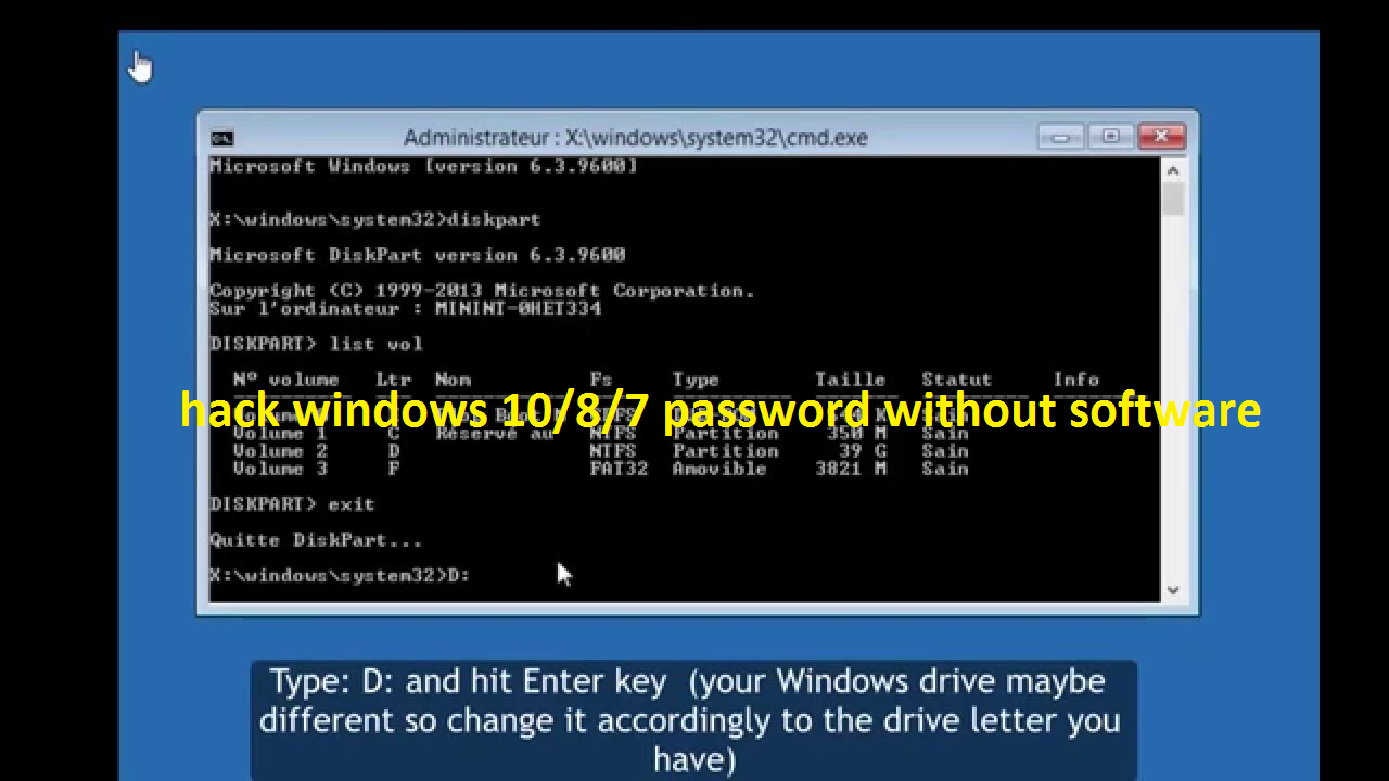 hack windows 10/8/7 password without software