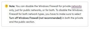 Windows firewall note