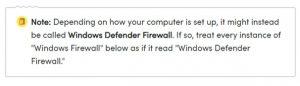 Firewall note